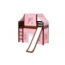 AWESOME23 / TWIN SIZE MID LOFT BED STRAIGHT LADDER - SLIDE & FABRICS