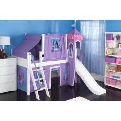 WOW27 /  TWIN SIZE CASTLE LOFT BED WITH SLIDE & TENT