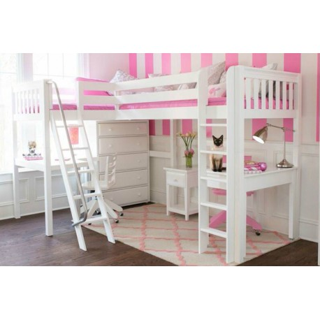 Highrise Twin Size High Corner Loft Bed With Ladders
