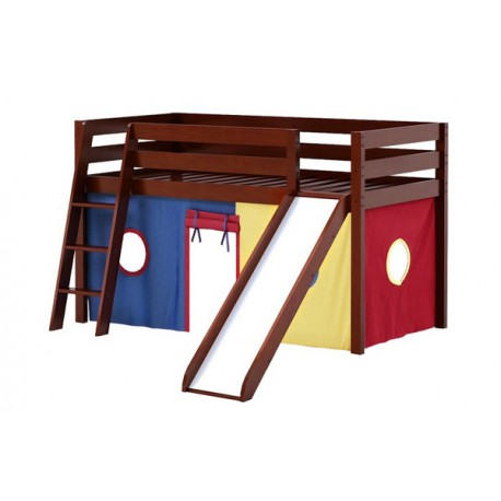 SHUFFLE29 PLAYHOUSE / TWIN LOFT BED WITH SLIDE IN CHESTNUT