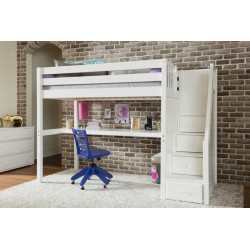 STAR11 / HIGH LOFT BED WITH STAIRCASE & LONG DESK / TWIN